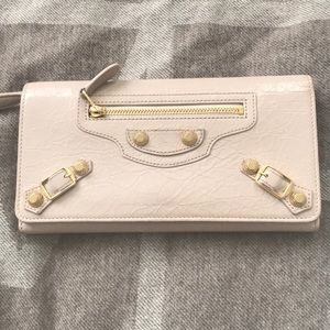 Balenciaga Giant gold continental wallet in pink